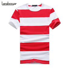 Men's Striped T Shirt Short Sleeve Casual O Neck Shirts Slim Fitted Trends Tees