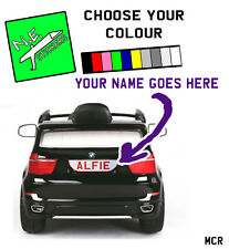 Personalised BACK kids number plate for electric BMW X5 or X6 ride on car  REAR