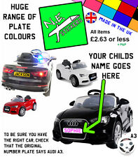 PERSONALISED kids number plates: ELECTRIC 12V Audi A3 toy car ride on licensed