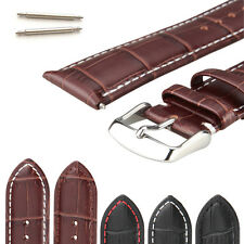 Mens Genuine Leather Watch Band Straps With Stainless Steel Buckle 18/20/22/24mm