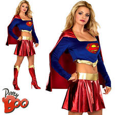 Sexy Supergirl Ladies Fancy Dress TV Superhero Superman Womens Adult Costume