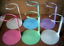Doll Stands Six 6 Assorted Color Painted Metal for 3 to 5 inch Dolls and bears