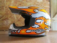 Kids Childrens Takachi TK-65 Junior Motocross MX Helmet Flame Silver Orange - S