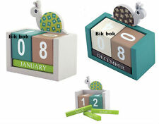 WOODEN PERPETUAL CALENDAR BLOCK DESKTOP OFFICE TABLE CALENDAR MONTH DATE