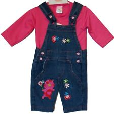 BABY GIRLS' 2PCS OUTFIT SET TODDLER BABY DUNGAREE DENIM/T-SHIRT 0-3m,3-6m,6-9 m
