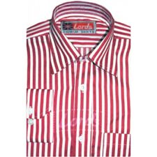 Men's Red and White Striped Formal Shirt - Polyester Cotton Blended