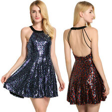 New Women Sequins Short Mini Dress Bandage Bodycon Evening Party Cocktail Club