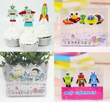 Alien Space UFO Robot Cupcake Toppers Birthday Candles