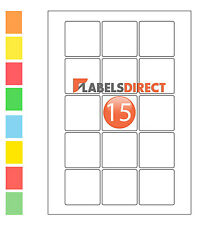 Premium 51mm Square A4 Labels 15 per Sheet Sticky Self Adhesive Printer Labels