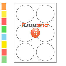 Premium 85mm Round A4 Labels. 6 per Sheet Sticky Self Adhesive Printer Labels