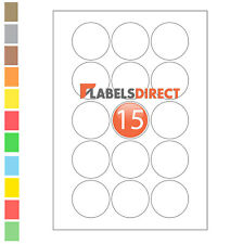 Premium 50mm Round A4 Labels 15 per Sheet Sticky Self Adhesive Printer Labels