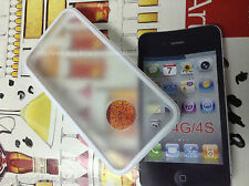 White Rubber Bumper Transparent Hard Back Case Cover For Apple iPhone 4 4G 4S