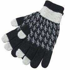 Mens Houndstooth Jacquard Winter Snow Wear Wool Hand Gloves