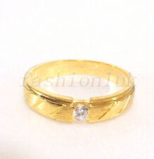 fashion1uk Anillo Solitario Transparente Diamante Sintético 18K Chapado En Oro