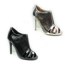NEW WOMENS LADIES HIGH STILETTO HEEL PEEP TOE LOW ANKLE SANDALS SHOES SIZE 3-8