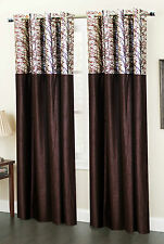 Homefab India Set of 2 Coffee Polyester Eyelet Curtains(HF596)