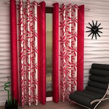 Homefab India Set of 2 Pink Leaves Curtains with Metal Eyelets (HF111)