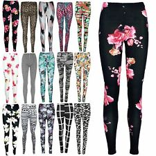 Women Ladies Floral All Over Printed Stretchy Bandage Ankle Full Length Leggings