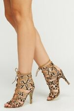 BN SIZE 3 4 5 6 7 8 CAMEL FAUX SNAKE HIGH HEEL LACE UP STRAPPY SANDALS SHOES BAG