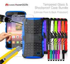 Huawei Ascend G620S 4G LTE Shockproof Grip Case Cover, Ret Pen & Tempered GLASS