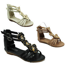 WOMENS LADIES SUMMER STRAPPY GLADIATOR WEDGE HEEL ANKLE SANDALS SHOES SIZE 3-8