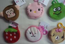 Molly & Rose Soft Zip Up Cute Animal Coin Purse with Belt Clip