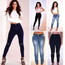 Womens Ladies High Waisted Skinny Fit Rip Knee Stretch Denim Jeans Size 6-14