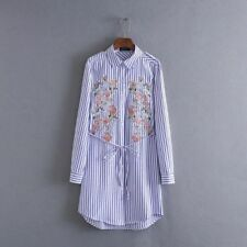 Fashion Women Floral Embroidered Blouse Casual Long Sleeve Striped Shirt Tops
