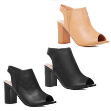 WOMENS LADIES MID BLOCK HEEL PEEP TOE CUT OUT ANKLE BOOTS SANDALS SHOES SIZE 3-8