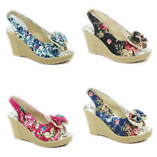 WOMENS LADIES PLATFORM WEDGES PEEP TOE SLINGBACK FLORAL SANDALS SHOES SIZE 3-8