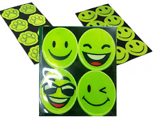 8 x REFLECTIVE HIGH VISIBILITY SMILEY FACE STICKERS Vinyl Decal Safety Backpack
