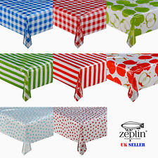 TRANSPARENT Printed Tablecloth STRIPE Gingham Dot POLKA Apple Protector COVER !!