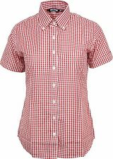 Relco Womens Red Gingham Short Sleeve Button Down Collar Shirt