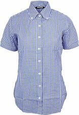 Relco Womens Blue Gingham Short Sleeve Button Down Collar Shirt