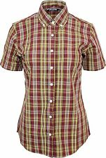 Relco Womens Burgundy Yellow Tartan Check Short Sleeve Button Down Collar Shirt