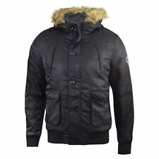 Mens Jacket Crosshatch Padded Quilted Short Parka Hooded Fur Winter Coat