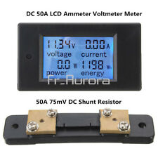 Digital 50A LCD Volt Watt DC Current Power Meter Ammeter Voltmeter + 75mV Shunt