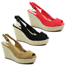 WOMENS LADIES PLATFORM WEDGE HEEL PEEP TOE SANDALS ESPADRILLES SANDALS SIZE 3-8