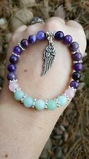 Amazonite, Rose Quartz & Lepidolite Bracelet~Natural~Handcrafted~stress~Anxiety