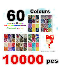 60 COLOURS PACK x10000 RESIN FLAT BACK RHINESTONES DIAMANTE CRAFT GEMS 3/4/5/6MM