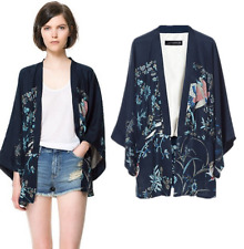 New 8-10 Womens Ladies Chinese Japanese Oriental Blue Kimono Birds Top ltop14