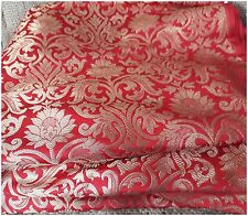 Soft Red Gold Jaquard Two Tone Brocade Fabric by Meter Blouse Kurti Material