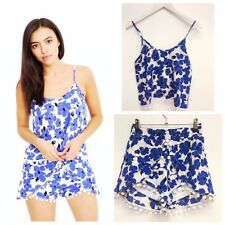 Blue and White Floral Print Co-ord with PomPom Detail - Shorts and Top -FREE P&P