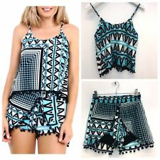 Blue Aztec Print Co-ord with PomPom Detail - FREE 1ST CLASS P&P - Elasticated