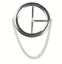 60mm Round Circle Center Bar Belt Buckle with Prong & Chain Drop Silver Nickel