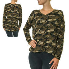 Only Damen Langarmshirt Shirt Longsleeve Camouflage Print Army T-Shirt Loose Fit
