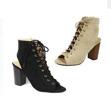 WOMENS LADIES HIGH HEEL CUT OUT PEEP TOE LACE UP ANKLE BOOTS SHOES SIZE 3-8