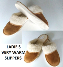Womens/Ladies Slippers Wool and Leather Suede Sheepskin Beige Shoes Size UK 4-8