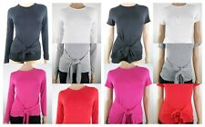New Ladies Womens Be Jealous Tie Front Knot Bow T Shirt Top Long & Short Sleeve