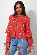 Cassie Red Floral Blouse